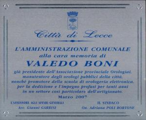 Targa in memoria di Valedo Boni